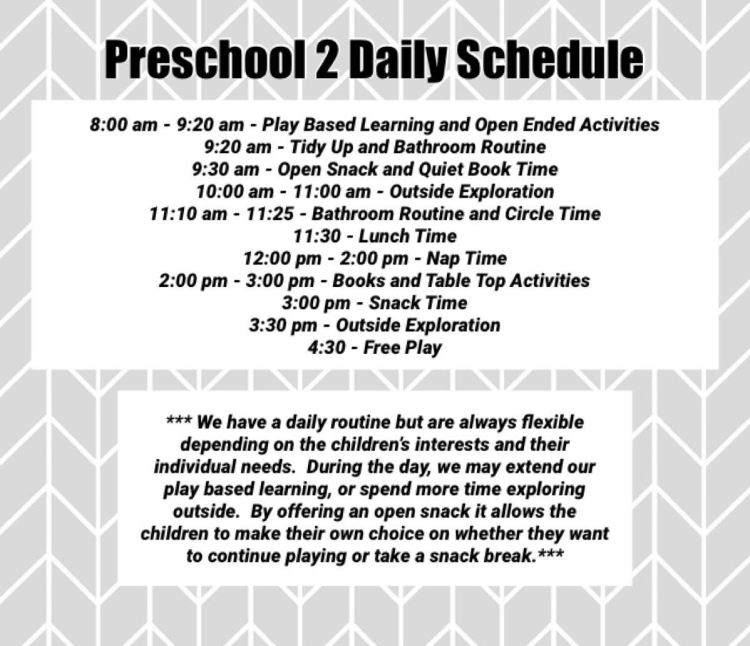 preschool 2 schedule